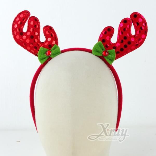 X射線【X282072】聖誕葉亮片鹿角髮圈,表演造型/萬聖節服裝/派對道具/尾牙表演/聖誕節頭飾