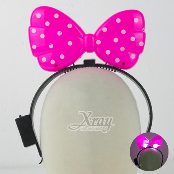 X射線【X601000】發光蝴蝶結髮圈(粉),聖誕節尾牙跨年春酒活動必備