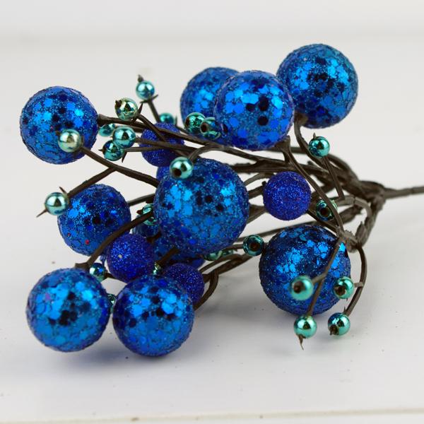 X射線【X713003】球型花蕾(藍), 聖誕衣/聖誕帽/聖誕襪/聖誕禮物袋/果實/球果/花材/佈置/會場佈置