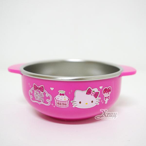 X射線【C424752】Kitty桃色雙耳不鏽鋼湯碗點蝴蝶結,餐具組/環保/開學/便當盒~