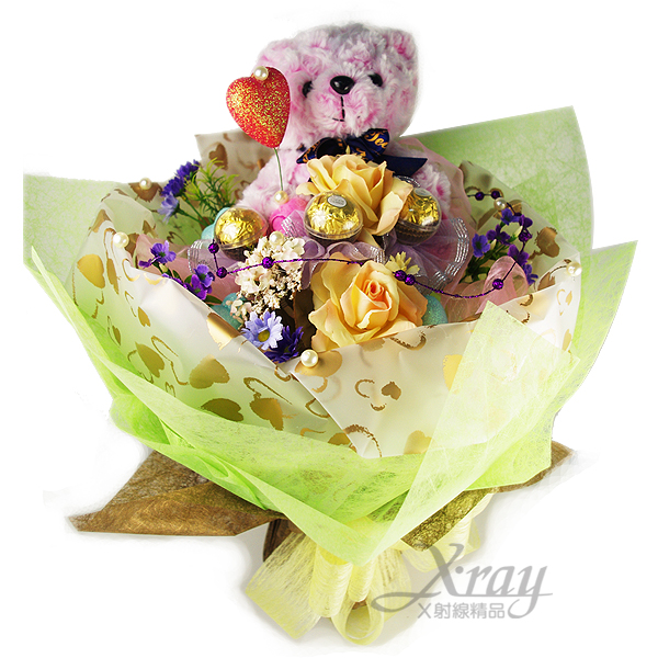 X射線【Y999977】熊真心金莎花束(花束.粉.熊),情人節金莎花束/捧花/情人節禮物/婚禮小物