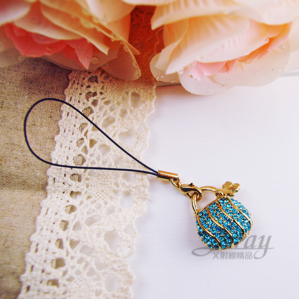 X射線【B919005】水鑽吊飾(藍色皮包),附精美禮盒/施華洛水晶鑽手機吊飾/情人節禮物