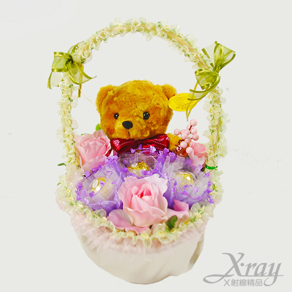 X射線【Y999997】咖啡小熊金莎花籃(花籃.咖啡.小熊),情人節金莎花藍/情人節禮物/婚禮小物