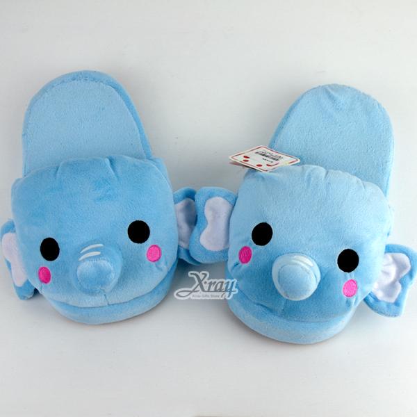 X射線【C290019】大象(藍色)保暖室內拖鞋,柔軟絨毛拖鞋/動物拖鞋/交換禮物/冬季必備