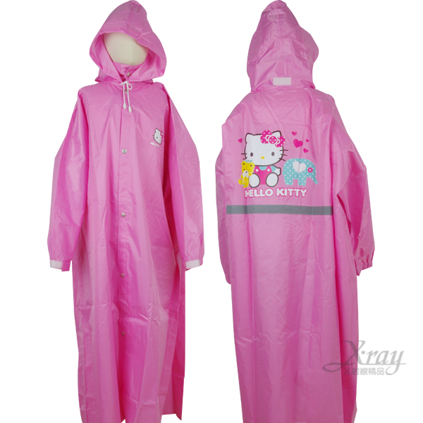 X射線【C656567】kitty全開式連身雨衣(粉色.大象),大人/小孩卡通雨衣