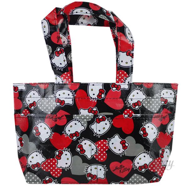 X射線【C117080】kitty提袋S(紅.愛心),手提袋/便當袋/收納袋/儲物袋/書袋/萬用袋