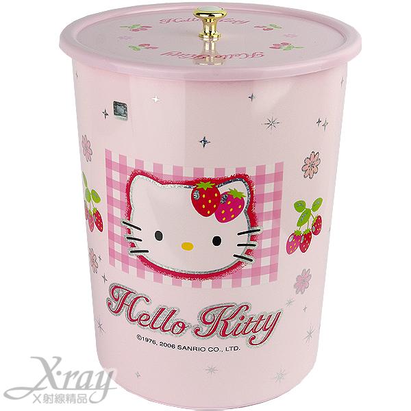 X射線【C110010】kitty拿蓋式垃圾桶(大.草莓),垃圾筒/雜物桶/水桶/分類桶/資源回收桶/廚餘桶