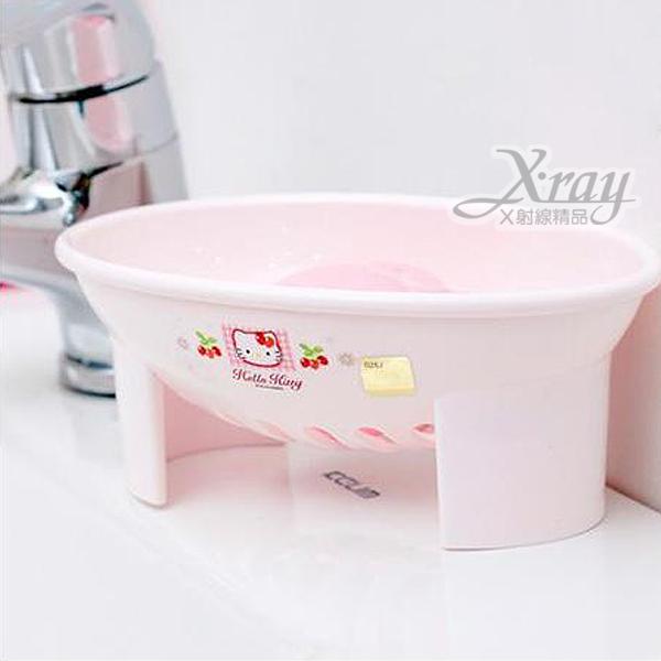 X射線【C170083】Kitty蘋果草莓肥皂座,韓國製,有瀝水設計肥皂不會泡水/肥皂盤/肥皂盒/置物盒