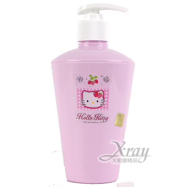 X射線【C170380】Kitty粉色草莓沐浴罐,韓國製,補充空瓶/洗手乳/洗髮乳/乳液罐/衛浴用品/浴室
