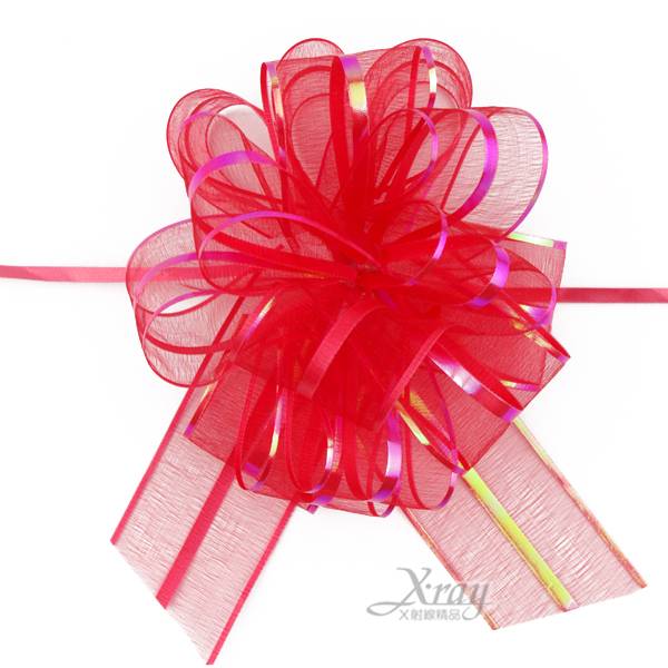 X射線【Y990001】手拉花緞帶(紅),織帶/緞帶花/D I Y手工藝/包裝材料/花藝材料/婚禮佈置/會場佈置