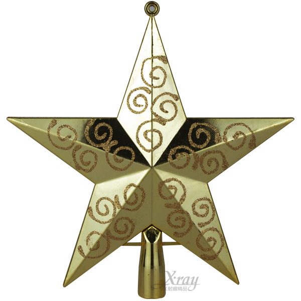 "X射線【X908681】7.5""彩繪樹頂星(金),聖誕佈置/聖誕擺飾/聖誕鍍金球/聖誕禮物/聖誕禮物"