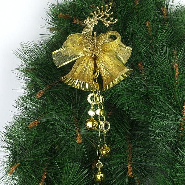 X射線【X298622】蝴蝶鹿+8cm雙鐘(金),聖誕佈置/聖誕掛飾/裝飾/吊飾/聖誕樹