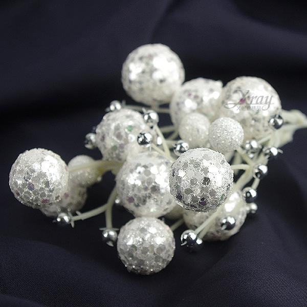 X射線【X130014】球型花蕾(白),聖誕裝飾/聖誕花材/聖誕襪/聖誕樹/聖誕吊飾/聖誕擺飾