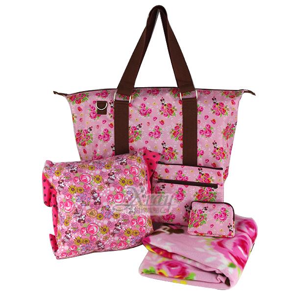 X射線【C005038】米妮背提兩用包福袋(粉.玫瑰花),出遊/背包/手提包/旅行包包/行李箱