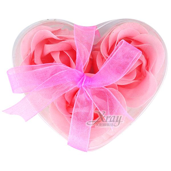 X射線【Y380001】玫瑰造型香皂花-3入(粉.玫瑰花),擺飾/情人節/聖誕節/送禮/婚禮小物