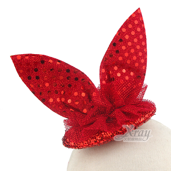 X射線【W412289】亮片俏麗兔耳頭扣(紅),萬聖節服裝/派對用品/尾牙表演/角色扮演