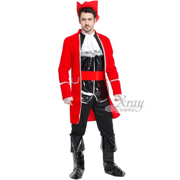 X射線【W000090】豪華海盜王,舞會/角色扮演/尾牙/萬聖節/海盜/虎克船長/聖誕節/cosplay/變裝派對