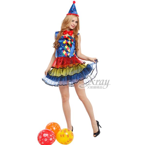 X射線【W000158】彩虹小丑裝,化妝舞會/角色扮演/尾牙表演/萬聖節/聖誕節/cosplay/變裝派對