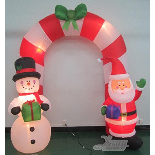 X射線【X007803】274cm老公公雪人拱門充氣,聖誕/聖誕佈置/充氣擺飾好收納/聖誕充氣