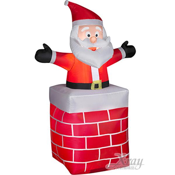 X射線【X087959】107cm老公公站煙囪充氣,聖誕/聖誕佈置/充氣擺飾好收納/聖誕充氣