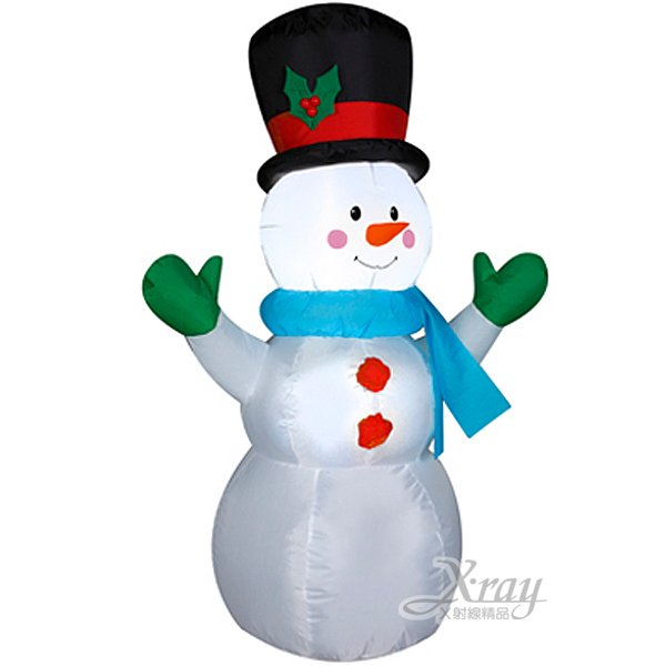 X射線【X089896】122cm雪人充氣(舉雙手)黑帽,聖誕/聖誕佈置/充氣擺飾好收納/聖誕充氣