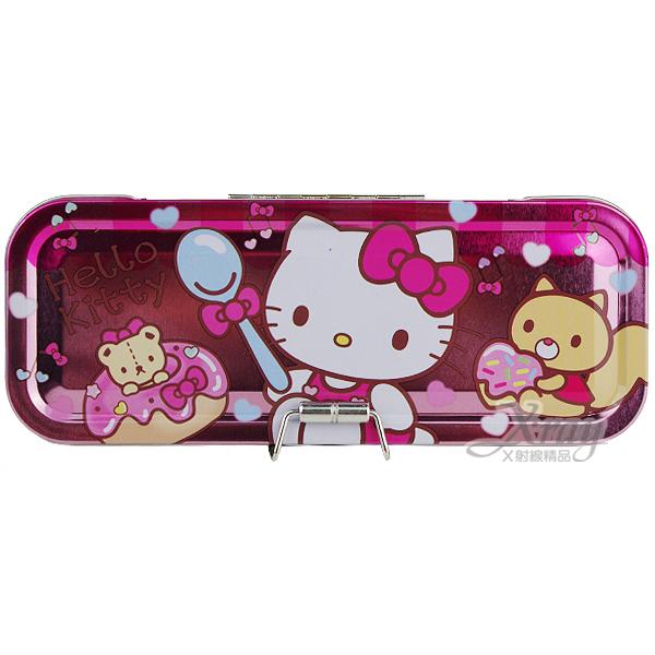 X射線【C079588】Kitty三層鐵製鉛筆盒(粉.甜甜圈),收納/削筆機/筆袋/開學必備/置物盒/收納盒/卡通/凱蒂貓