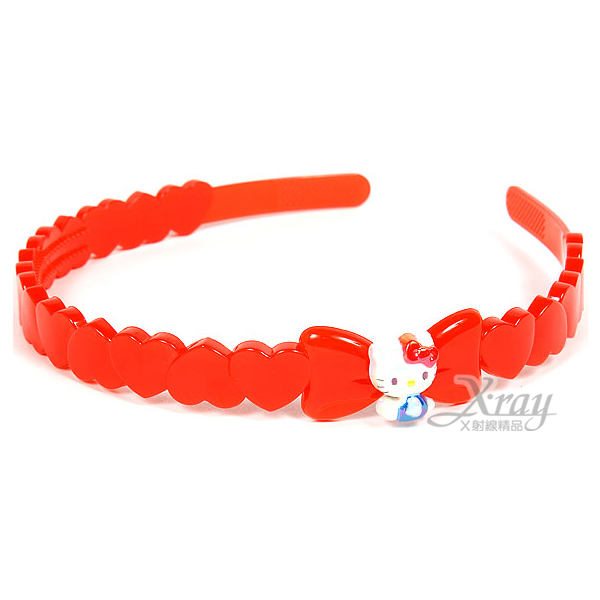 X射線【C740385】Hello Kitty 髮箍《紅.坐姿.一排愛心》甜美可愛風,髮圈/髮束/髮帶