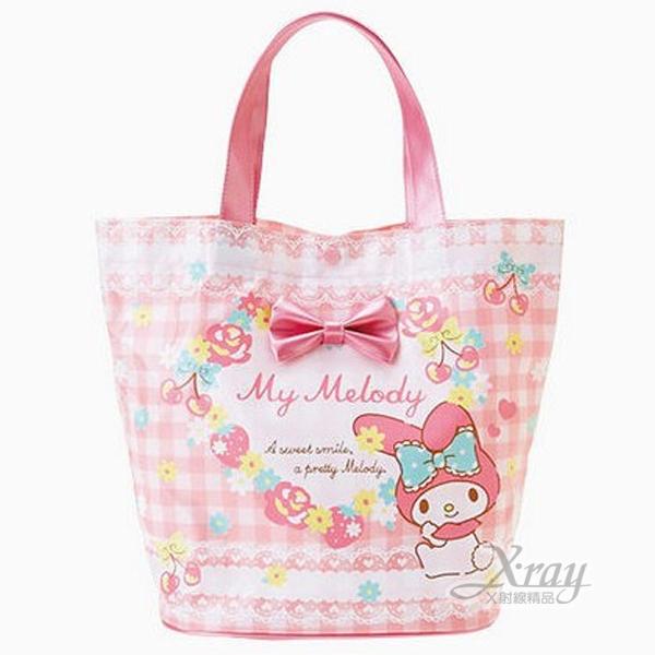 X射線【C827857】美樂蒂 手提袋《水桶型.粉紅.格紋.立體蝴蝶結》表層防水加工,手提包/手提袋/水桶包