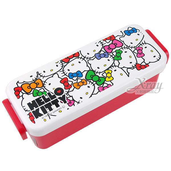 X射線【C216879】Kitty多臉樂扣長身型塑膠便當盒(紅白)540ml日本製,餐具組/湯匙/叉子/環保/開學//衛生