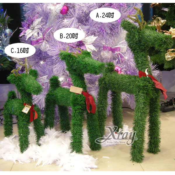 X射線【X067967】草綠鹿(12吋)(綠),聖誕麋鹿/聖誕擺飾/聖誕禮物袋/聖誕老人衣服
