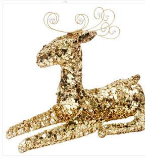 X射線【X130012】坐鹿50cm(金),聖誕麋鹿/聖誕擺飾/聖誕禮物袋/聖誕老人衣服