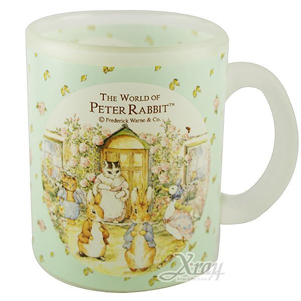 X射線【C207408】彼得兔玫瑰世界玻璃馬克杯(綠),居家收納/裝飾/置物盒/送禮/辦公用品/畢業禮物/家庭雜貨