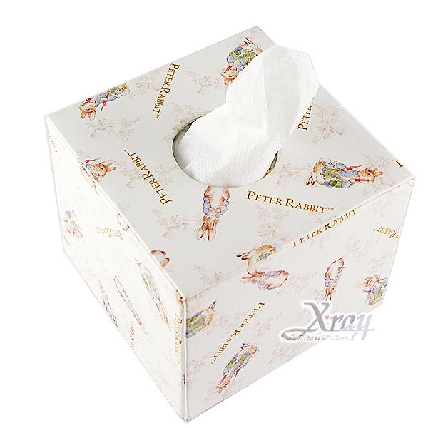 X射線【C906103】彼得兔玫瑰風皮革方形面紙盒,居家收納/裝飾/置物盒/送禮/辦公用品/畢業禮物/家庭雜貨