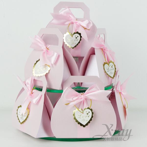 X射線【B590001】婚禮小物系列-喜糖盒喜糖袋粉紅提包款~