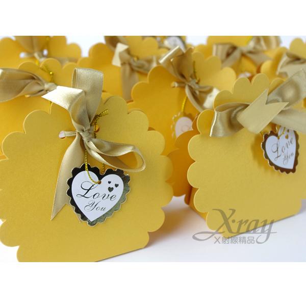X射線【B90004】婚禮小物系列-喜糖盒喜糖袋金色小花款