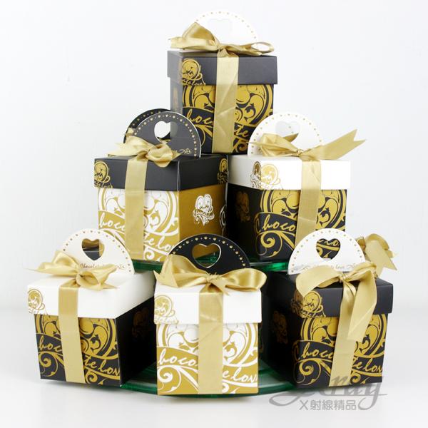 X射線【B90005】婚禮小物系列-喜糖盒黑金盒(1個$15,一對出不挑色)