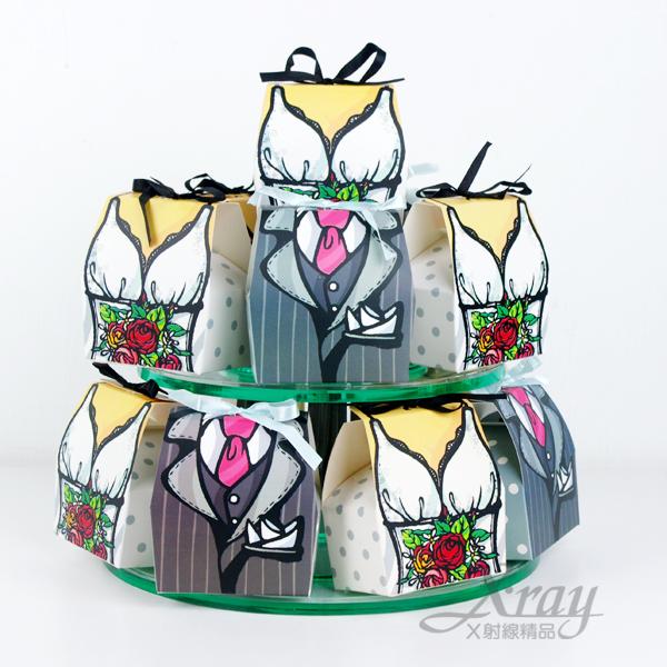 X射線【B90006】婚禮小物系列-喜糖盒喜糖袋(白紗男女新郎新娘款),一對出不挑款