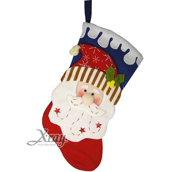 "X射線【X383092】老公公玩偶造型聖誕襪19"",聖誕衣/聖誕帽/聖誕襪/聖誕禮物袋/聖誕老人衣服"