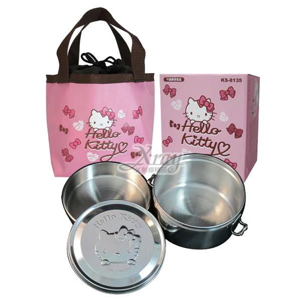 X射線【C168302】Kitty不鏽鋼便當盒附袋(圓形),環保/餐盤/便當盒/不銹鋼/不鏽鋼/開學/卡通