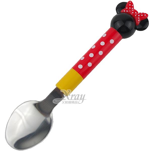 X射線【C196287】米妮立體頭型兒童不鏽鋼湯匙(黑頭紅白點黃身),餐具組/環保/開學/便當盒/Disney/輕巧/攜帶~