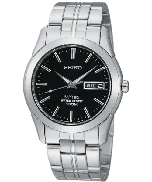 Seiko 7N43-0AR0D 藍寶石水晶玻璃古典腕錶/黑面35mm