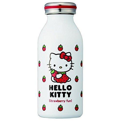 日本 mosh!×sanrio Hello Kitty 不鏽鋼牛奶瓶/保溫保冷瓶 350ml 草莓款 *夏日微風*