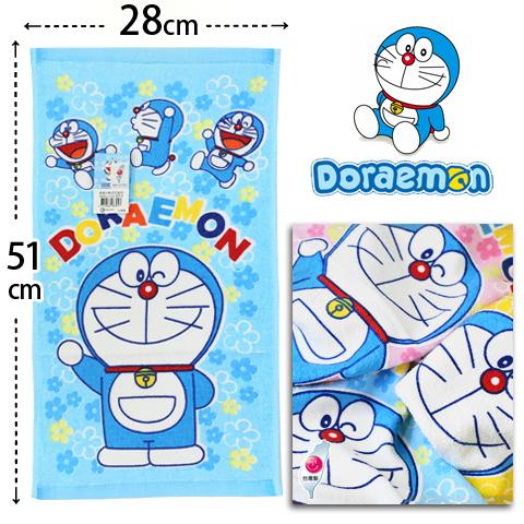 【esoxshop】純棉童巾 哆啦A夢小花朵朵款 台灣製 Doraemon 小叮噹