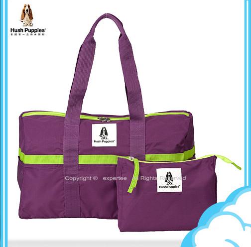 請詢問庫存【騷包館】Hush Puppies 撞色系 輕鬆收納折疊手提肩背旅行袋 璀璨紫 HP693271016-19