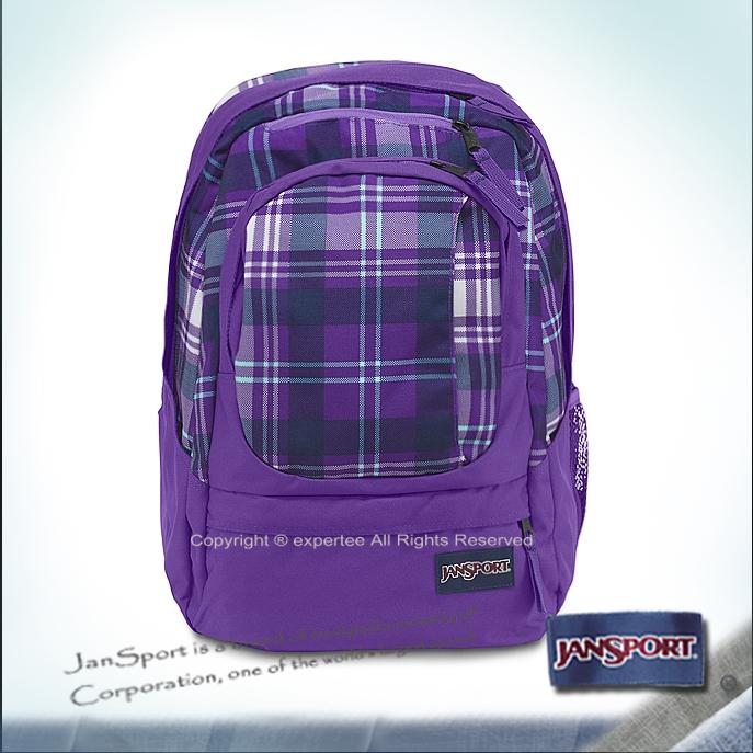 請詢問庫存【騷包館】JANSPORT專櫃 多夾層氣墊電腦後背包 黑夜紫格紋 JS-43761J1E6