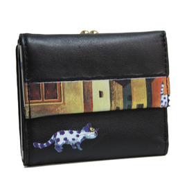 幾米畫家首創皮夾 牛皮 屋頂上淘氣小貓 對開珠扣短夾 黑色