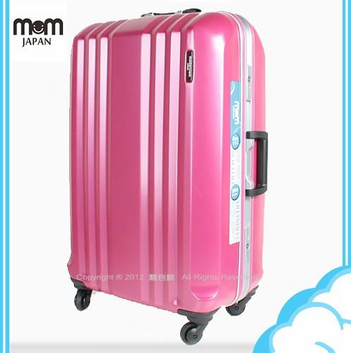 加送吊牌[隨機出貨]【騷包館】MOM JAPAN 日本品牌 26吋輕量霧面鋁框海關鎖旅行箱 桃紅MF-1028-26