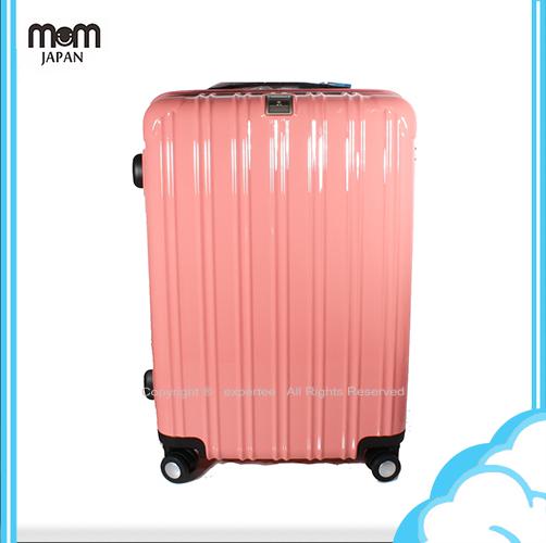 【騷包館】MOM JAPAN 日本品牌 24吋 PC輕量鏡面直線條飛機輪旅行箱 粉紅 MF5008-24-PK