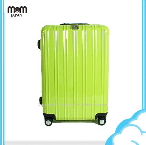 請詢問庫存 2015/12到貨【騷包館】MOM JAPAN 日本品牌 18吋 PC輕量鏡面直線條飛機輪旅行箱 蘋果綠 MF5008-18-GR