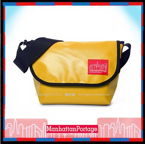 【騷包館】Manhattan Portage曼哈頓 紐約品牌 經典款魔鬼黏亮皮郵差包 黃色1605V MP1605JR-VL-YL